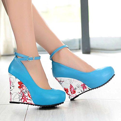 AIYOUMEI Damen Knöchelriemchen Keilabsatz Pumps mit Plateau und 10cm Absatz Bequem Modern High Heels Schuhe Blau