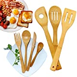 Organic Bamboo Cooking Utensils|Reusable Utensils set of 7|Eco Friendly Flatware Set|Bamboo Travel Cutlery|Bamboo Spatula, Knife, Fork, Spoon|Perfect for Nonstick Pan and Cookware (1)