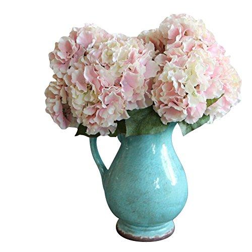 AMTION Artificial Silk Fake 5 Heads Flower Bunch Bouquet Home Hotel Wedding Party Garden Floral Decor Hydrangea Pink