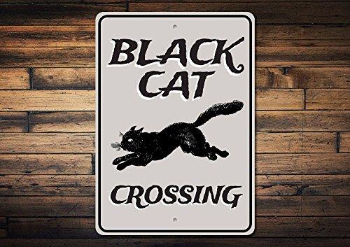 Dozili Black Cat Crossing Sign Black Cat Decor Black Cat Sign Halloween Cat Sign Cat Lover Gift Cat Bad Luck Sign Quality Metal 10