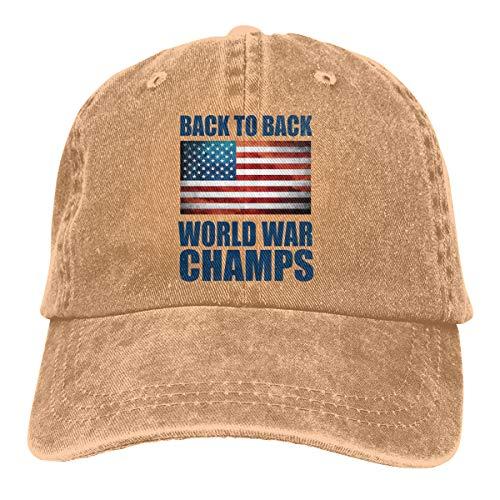 Mens Womens Baseball Cap Back to Back World War Champs Adjustable Denim Trucker Hat for Men ()
