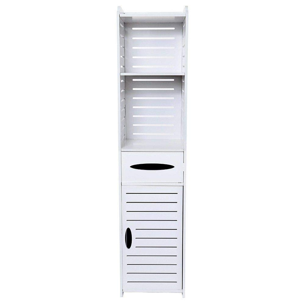 4 Shelf Modern Wood Bathroom Cabinet Shelf Cupboard Storage Toilet Unit Free Standing, H 125cm x W 27cm x L 25cm Homypro