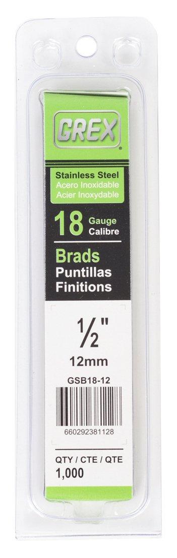 """Grex Power Tools GSB18-12 18 Gauge Stainless Steel 1/2"""" Length Brad Nails (1,000per Pack)"""