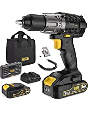 """Cordless Drill, 20V Max Power Drill Driver Kit 60Nm, 2 2.0Ah Lithium-Ion Batteries, 24+1 Torque Setting, 2-Speed Adjustment, 1/2"""" Keyless Chuck, 29 Accessories - For Homeowner, Electricians, Plumbers"""