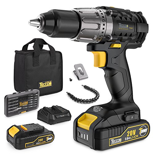 Cordless Drill with Battery, 20V Max Power Drill Driver Kit 60Nm, 2 2.0Ah Batteries, 24+1 Torque Setting, 2-Speed Adjustment, 1/2″ Keyless Chuck, 29 Accessories – For Homeowner, Electricians, Plumbers