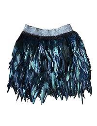 Zaki Fashion Women Feather Mid Waist Black Mini A-line Skirt