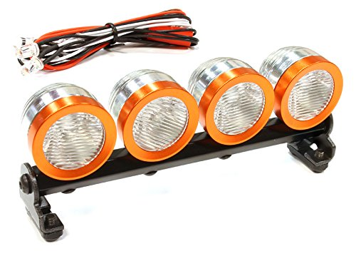 Integy RC Hobby C25615ORANGE Machined Roof Top Adj Spot Light Set (4) LED White for 1/10, 1/8 & 1/5 Scale