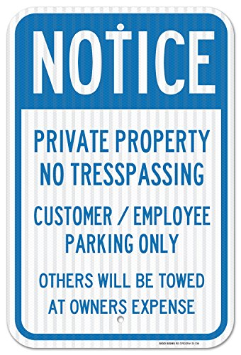 Family Reserved Parking Sign (Private Property No Trespassing Sign Customer or Employee Parking Only Sign, Federal 12