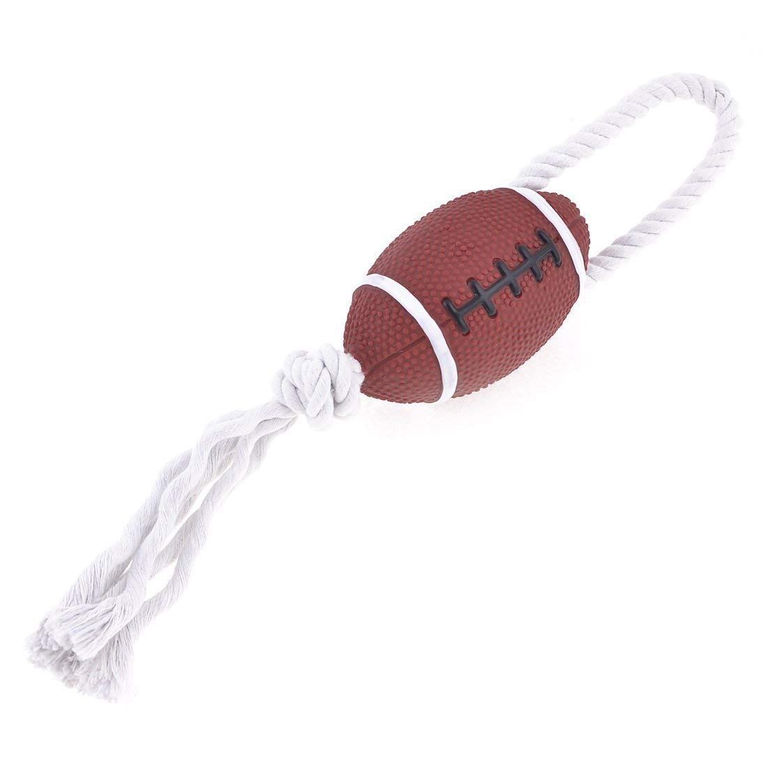 1Pc Pet Puppy Knot Rope Rugby Ball Chew Tug Squeaky Toy, White