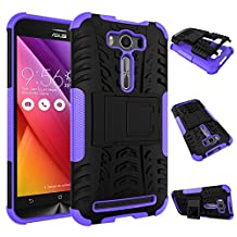 Zenfone 2 Laser Case, chinstyle Asus Zenfone 2 Laser ZE550KL / ZE551KL 5.5 inch 2in1 Case Heavy Duty Rugged Soft TPU Hard Rubberized PC Dual Layer with Kickstand Protective Back Cover Light Purple