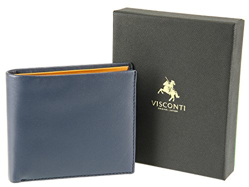 Coins Wallet Black PM101 Pablo Notes Visconti Slim Blue Cards Credit For Blue Leather Mustard Bifold BRxqw48