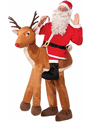 Forum Novelties Men's Santa Ride-A-Reindeer Adult Costume, Multi, One (Inflatable Santa Costume)