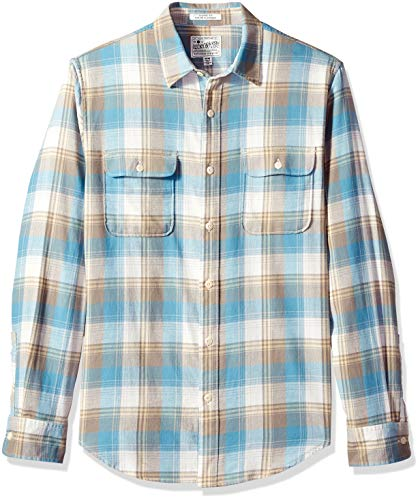 Lucky Brand Men's Long Sleeve Clean Two Pocket Button UP Workwear Shirt, Blue/Gold, L (Lucky Long Sleeve Pullover)
