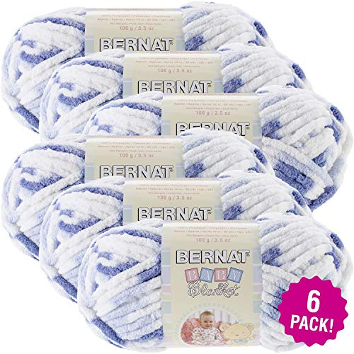 Bernat Denim Yarn - Bernat 97683 Baby Blanket Yarn-Little Denim Print, Multipack of 6, Pack