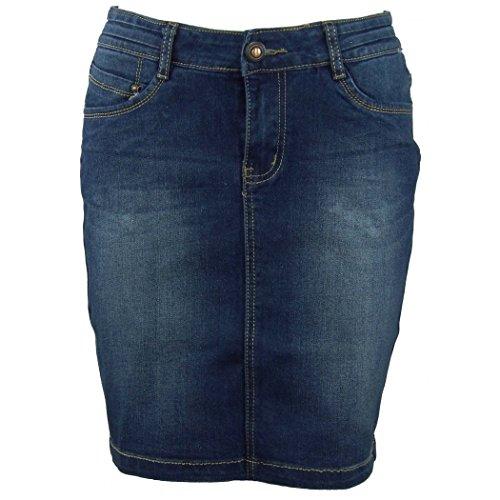 Jupe jeans Maria droite coupe en Bleu vAqFrvw