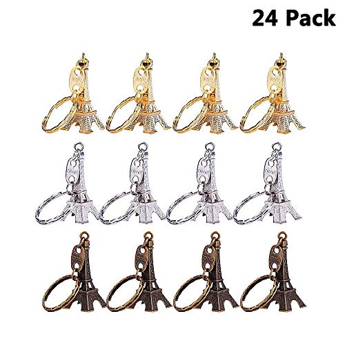 (Finduat 24 Pcs Retro Eiffel Tower Keychain Cute Adornment Key Ring 3 Colors Bronze Silver)