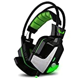 Gaming Headphones,GranVela X60 Digital Virtual 7.1 Surround Sound Gaming Headset with Microphone, LED Light and Vibration for PC, Notebook,Playstation 4,Xbox One - Black & Green