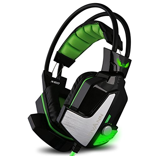 40 Mm Sword (Gaming Headphones,GranVela X60 Digital Virtual 7.1 Surround Sound Gaming Headset with Microphone, LED Light and Vibration for PC, Notebook,Playstation 4,Xbox One - Black & Green)