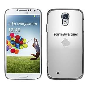 KLONGSHOP // Cubierta de piel con cierre a presión Shell trasero duro de goma Protección Caso - Usted es impresionante motivación - Samsung Galaxy S4 //