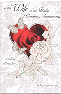 To My Wife On Our 40th Ruby Wedding Anniversary Large Greeting Card GR029