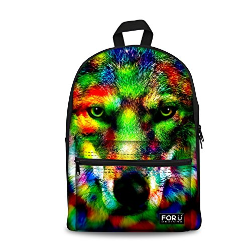 Awesome Backpacks For Girls (FOR U DESIGNS Cool Camo Wolf Print Canvas Boys Bookbag Shoulder)
