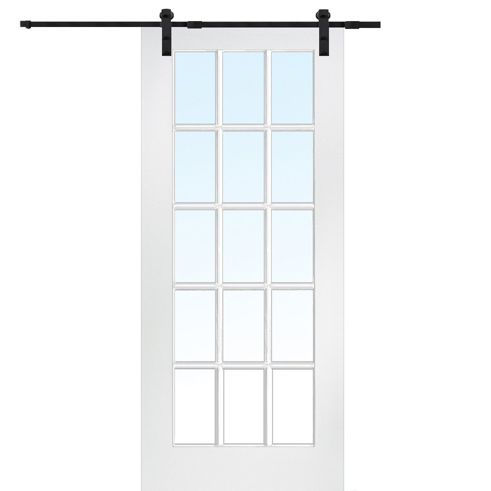 National Door Company Z009554 Primed MDF 15 Lite True Divided Clear Glass 32'' x 80'', Barn Door Unit