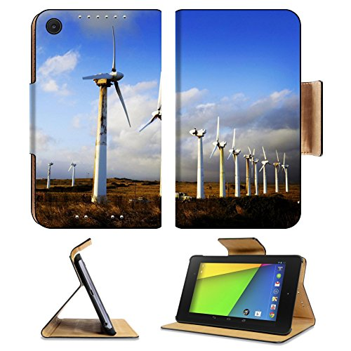 Asus Google Nexus 7 2nd Generation Flip Case Wind Turbines and Clouds Big Island of Hawaii Photo 7523282 by Liili Customized Premium Deluxe Pu Leather generation Accessories HD Wifi Luxury Protector - Deluxe Turbine