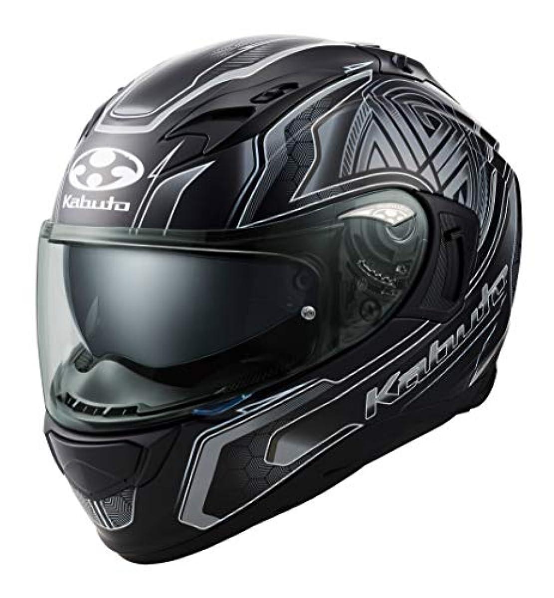 [해외] OG K (카부)카브도(OGK KABUTO)오토바이 헬멧 풀 페이스 KAMUI3 CIRCLE(써클) 플랫 블랙 실버 (사이즈:L) 585747