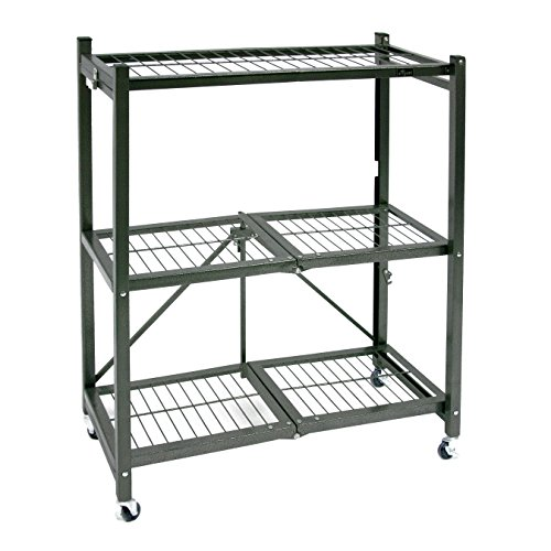 Origami General Purpose Foldable 3-Shelf Storage Rack with Wheels, Small -