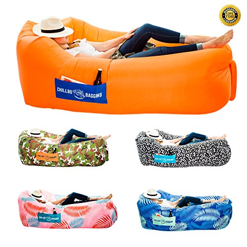 Chillbo Baggins 2.0 Inflatable Lounge Bag Hammock Air Sofa and Pool Float Ships Fast! Ideal for Indoor or Outdoor Hangout or Inflatable Lounger for Camping Picnics & Music Festivals (Orange + Blue)