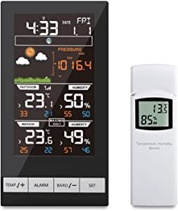 ECOWITT Digital Wireless Colour Weather Station Indoor Outdoor Temperature Thermometer Humidity, Ice Alert, Barometric Pressure, Moon Phase, Weather Forecast, Alarm Clock Snooze