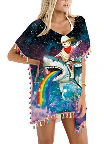 Women's Galaxy Captain Cat Riding Rainbow Shark Chiffon Rainbow Tassel Beach Swimwear Cover Up Swimsuit Beach Dress Pom Pom Trim Kaftan Bikini Swimwear Cover-Ups -