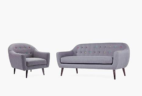 Meubletmoi Conjunto Sofá sillón Gris – Design escandinavo Estilo Vintage años 50 – Escenario capitons Botones