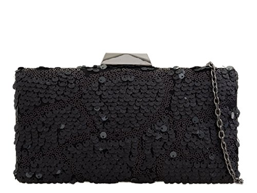 Ladies Hard Bag Designer Black Top Box Women's KK2268 Clutch Handbag Sequin Evening Clasp rprdUWSn