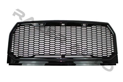 Razer Auto Hex Style Gloss Black Mesh Grille Shell, Complete Factory Replacement Grille Shell for 15-16 2015-2016 Ford F150