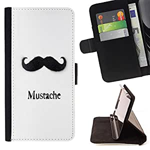 - Mustache Mania - - Premium PU Leather Wallet Case with Card Slots, Cash Compartment and Detachable Wrist Strap FOR Samsung Galaxy S4 Mini i9190 I9192 King case