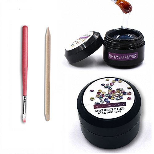 MOPRETTY Super Sticky Rhinestone Glue Adhesive Builder Tip Manicure Nail Art Decoration Clear UV Gel 8ml With 1 Painting Pen 1 wood stick (UV Light Cure Needed) (Nail Art Painting)