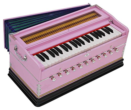 Harmonium Pink Pro Grade By Kaayna Musicals, 11 Stops- 6 Main & 5 Drone, 3½ Octaves, Coupler, Gig Bag, Bass/Male Reed Tuned- 440 Hz, Suitable for Peace, Yoga, Bhajan, Kirtan, Shruti, Mantra, etc