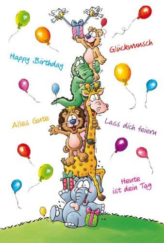 Tarjeta cumpleaños infantil animales Globos Palabras, 5 ...