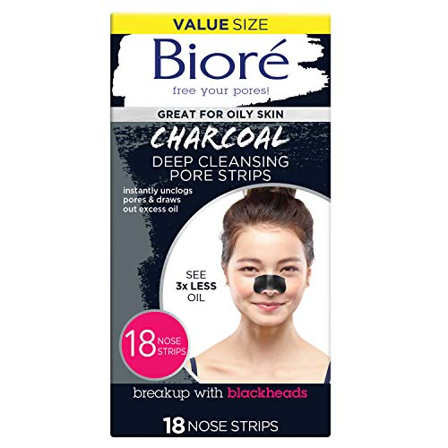 (Bioré Blackhead Removing and Pore Unclogging Deep Cleansing Pore Strip with Natural Charcoal, Cruelty Free, Vegan, Oil-Free & Non-Comedogenic, Great for Oily Skin (18 Count) (Packaging May Vary) )