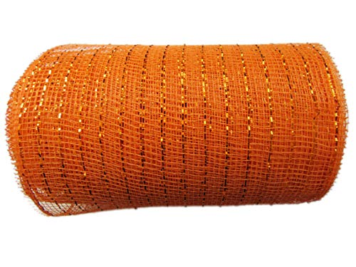 6 inch x 30 feet(10 Yards)-YYCRAFT Metallic Deco Poly Mesh Ribbon(Orange)