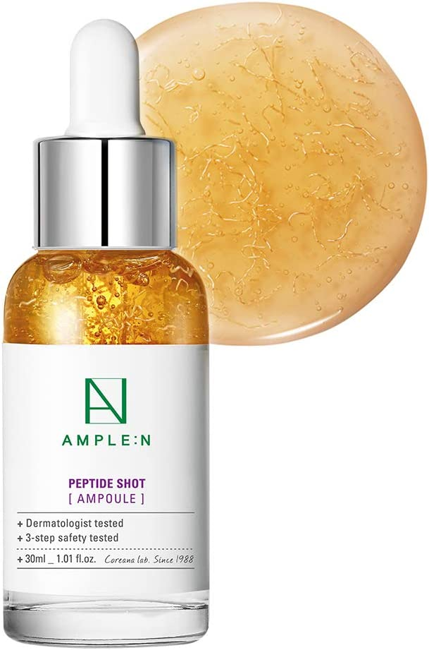 [AMPLE:N] Peptide Shot Ampoule 1.01 fl. oz. (30ml) - Ultimate Anti Aging & Anti Wrinkle Facial Firming Serum, Tri-Peptides Booster, Visiby Plump, Rejuvenating Skin Care, Lifts Sagging Skin