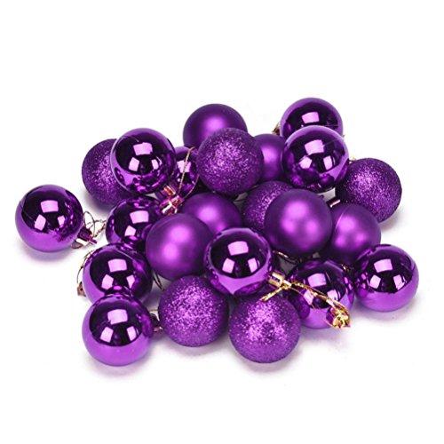 Elaco 24pcs Christmas Balls Ornaments Xmas Trees Wedding Parties Mini Tree Decorations (Purple)