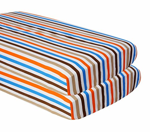 Bacati Crib Fitted Sheets, Mod Stripes Blue/Orange/Chocolate (Pack of 2) ()