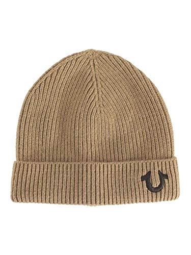 True Religion Men's Ribbed Knit Wheat/Brown Beanie Cap Hat (One Size Fits Most)