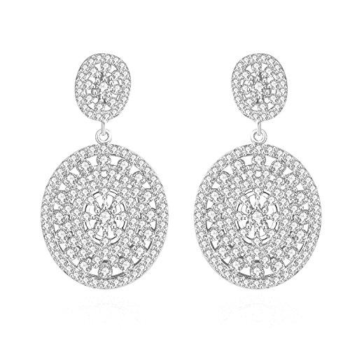 Platinum Plated Cubic Zirconia Drop Dangle Earrings, CZ Earrings, Cubic Zirconia Earrings, Bridal Earrings, by CRYSTAL LEMON (Platinum Plated Hoop Dangle Earrings)