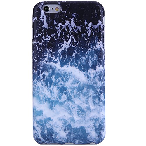 iPhone 6 Case, iPhone 6s Case,VIVIBIN Cute Blue White Sea Waves for Men Women Girls Clear Bumper Best Protective Soft Silicone Rubber Glossy TPU Cover Slim Fit Best Phone Case for iPhone 6/iPhone 6s