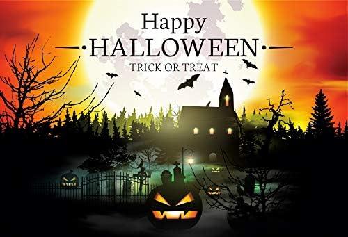 Leowefowa Happy Halloween Backdrop 5x3ft Vinyl Cartoon Gloomy Full Moon Haunted Church Spooky Cemetery Decayed Trees Grimace Pumpkin Lamps Background Child Baby Photo Shoot Trick Or Treat Banner