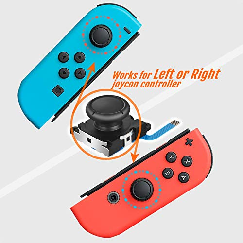 Joycon Joystick Replacement, TEKPREM 2 Pack Upgraded Analog Joystick Replacement for Nintendo Switch Joycon Controller and Switch Lite with Black Thumb Stick Caps, Tripoint and Phillips Spare Screws