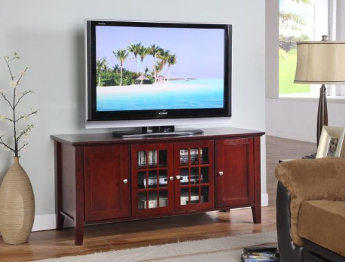 King's Brand E002 Wood Plasma TV Console Stand Entertainment Center, Dark Cherry
